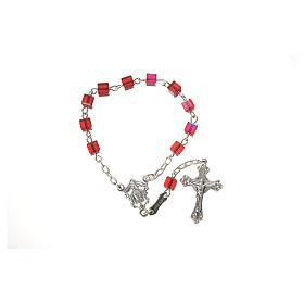 Single-decade rosary 800 silver, Swarovski square grains, red s5
