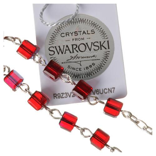 Rosario decena plata 800 cuentas de Swarovski cuadrados rojos 8