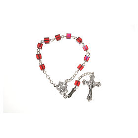 Single-decade rosary 800 silver, Swarovski square grains, red s5