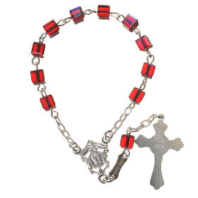 Single-decade rosary 800 silver, Swarovski square grains, red s7