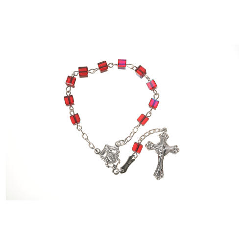 Single-decade rosary 800 silver, Swarovski square grains, red 5