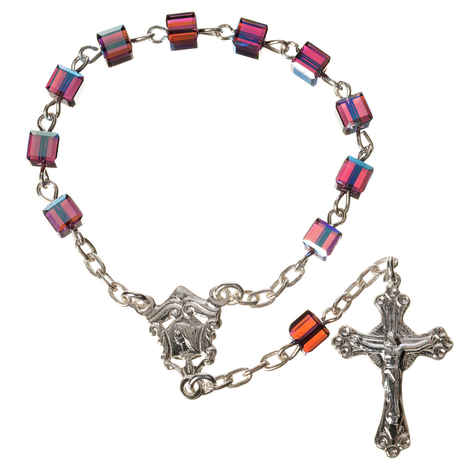 Single-decade rosary 800 silver, Swarovski square grains, fuchsi 4