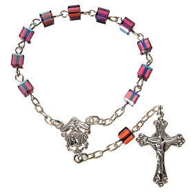 Single-decade rosary 800 silver, Swarovski square grains, fuchsi s1