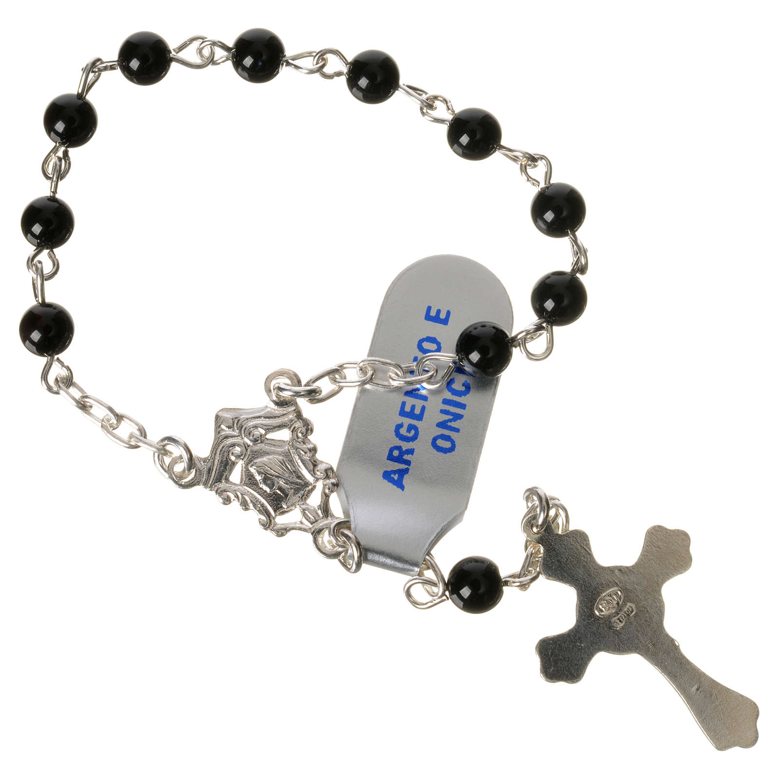 Single-decade rosary in 925 silver and onyx 4