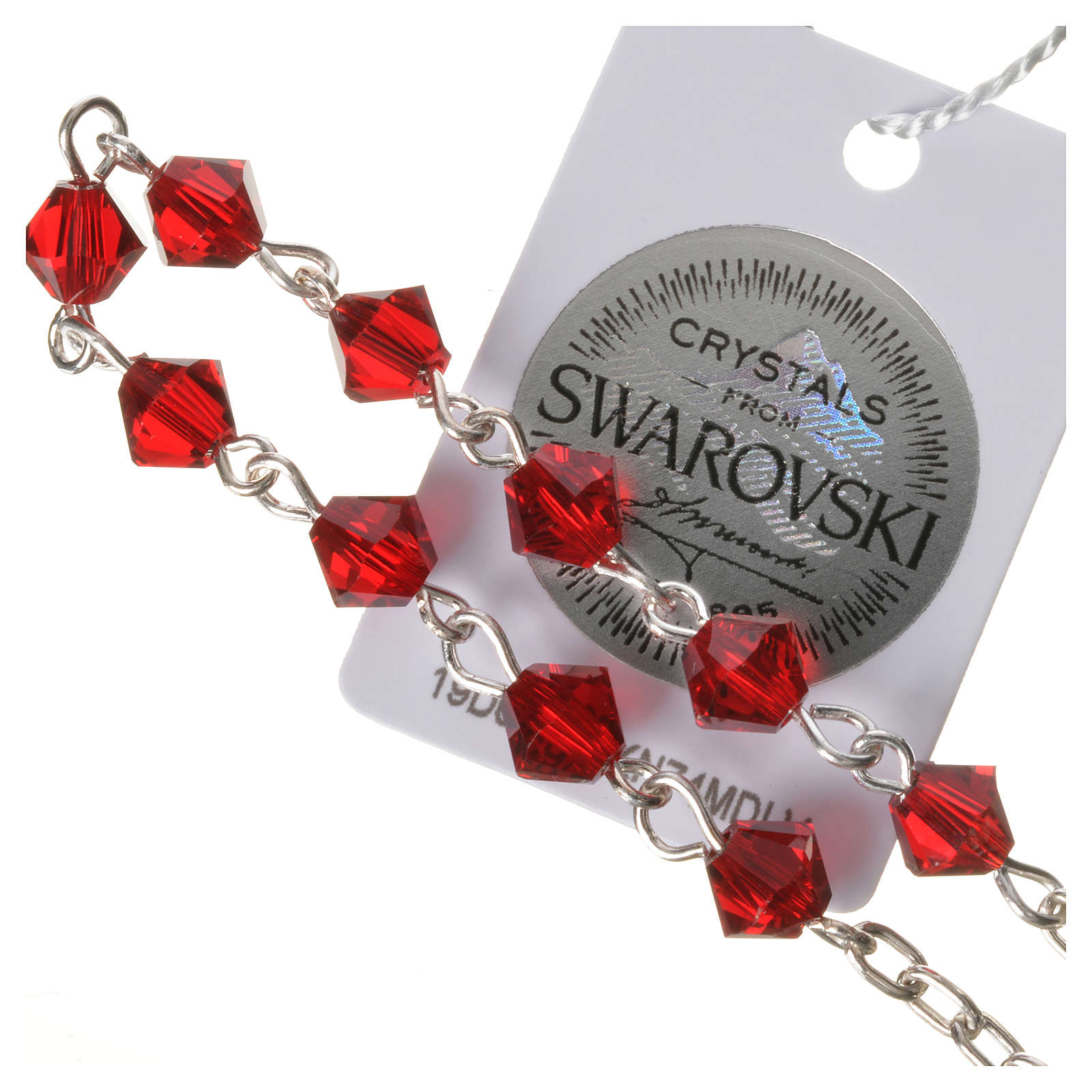 Single-decade rosary in 800 silver and red Swarovski 4