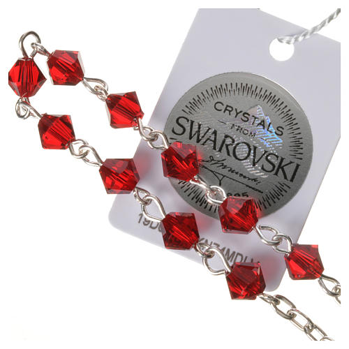 Single-decade rosary in 800 silver and red Swarovski 3