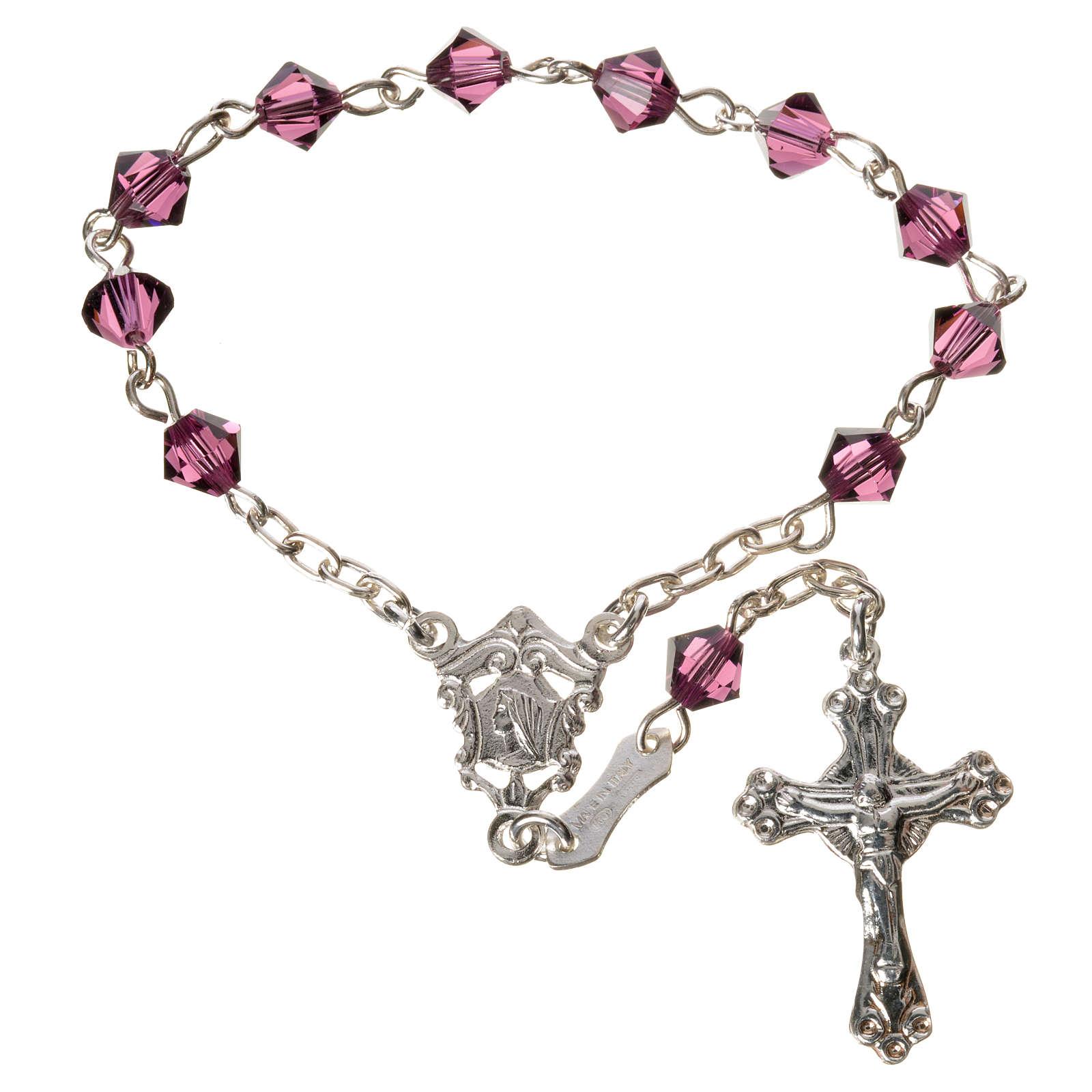 Single-decade rosary in 800 silver and fuchsia Swarovski 4