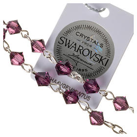 Single-decade rosary in 800 silver and fuchsia Swarovski s3