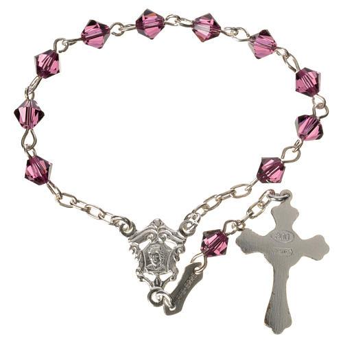 Single-decade rosary in 800 silver and fuchsia Swarovski 2