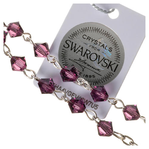 Single-decade rosary in 800 silver and fuchsia Swarovski 3