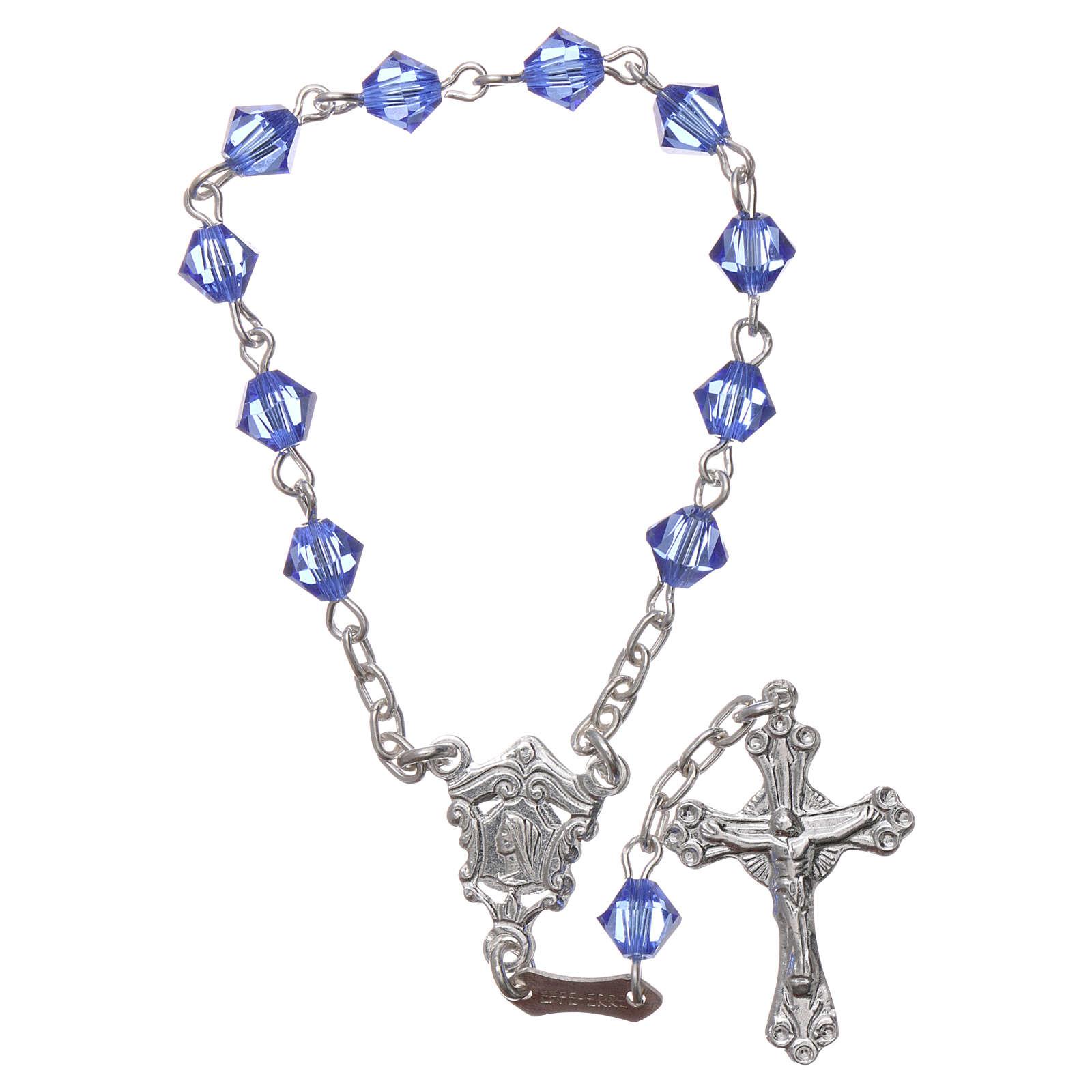 Single-decade rosary in 800 silver and light blue Swarovski 4