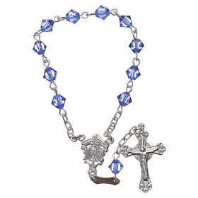 Single-decade rosary in 800 silver and light blue Swarovski s1