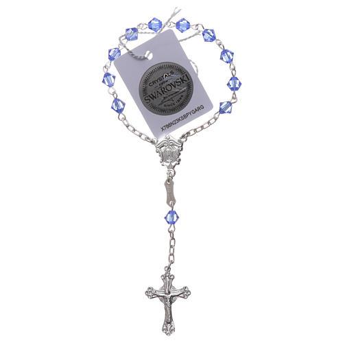 Single-decade rosary in 800 silver and light blue Swarovski 2