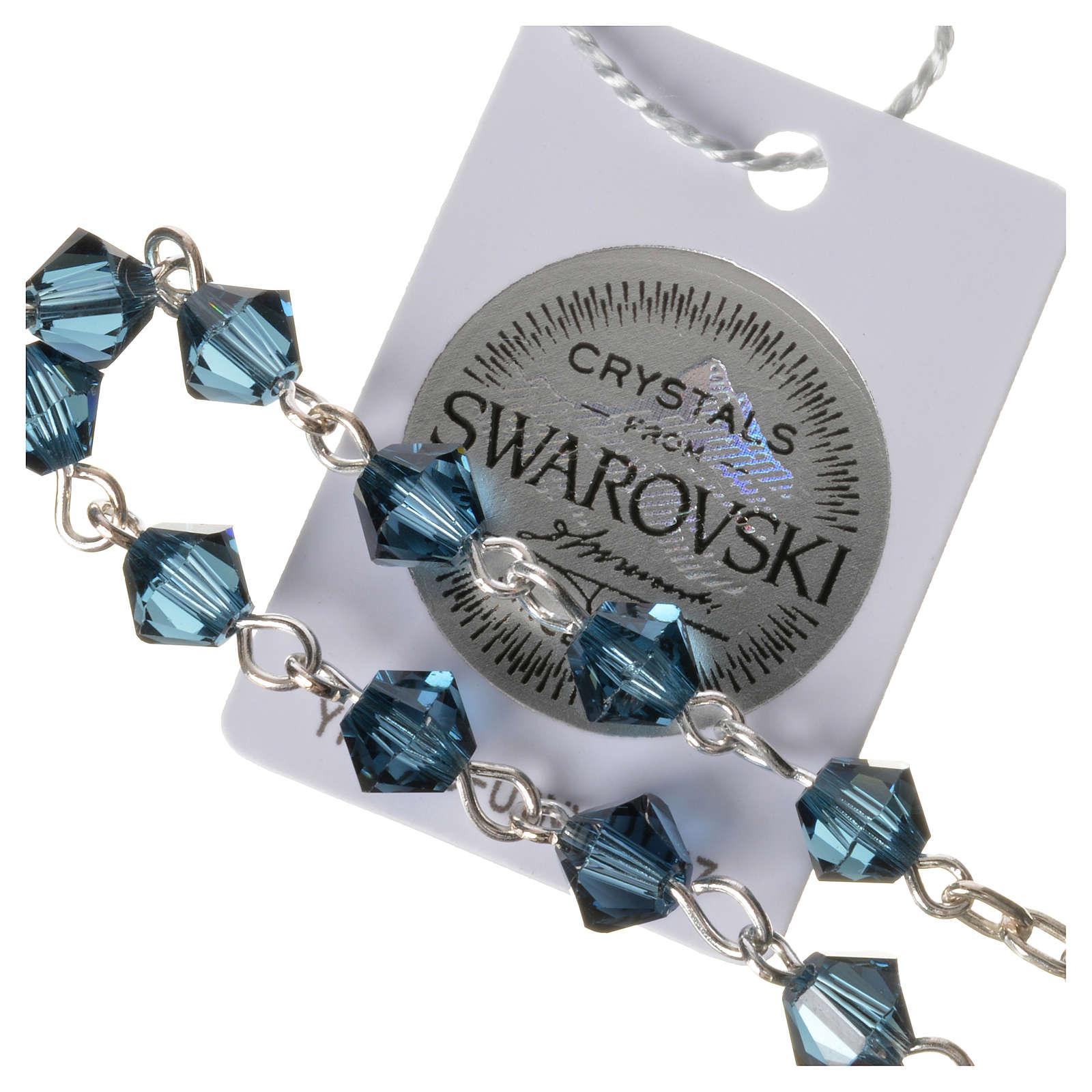 Single-decade rosary in 800 silver and blue Swarovski 4