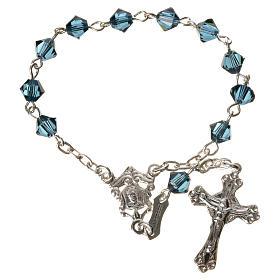 Single-decade rosary in 800 silver and blue Swarovski s1