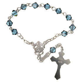 Single-decade rosary in 800 silver and blue Swarovski s2