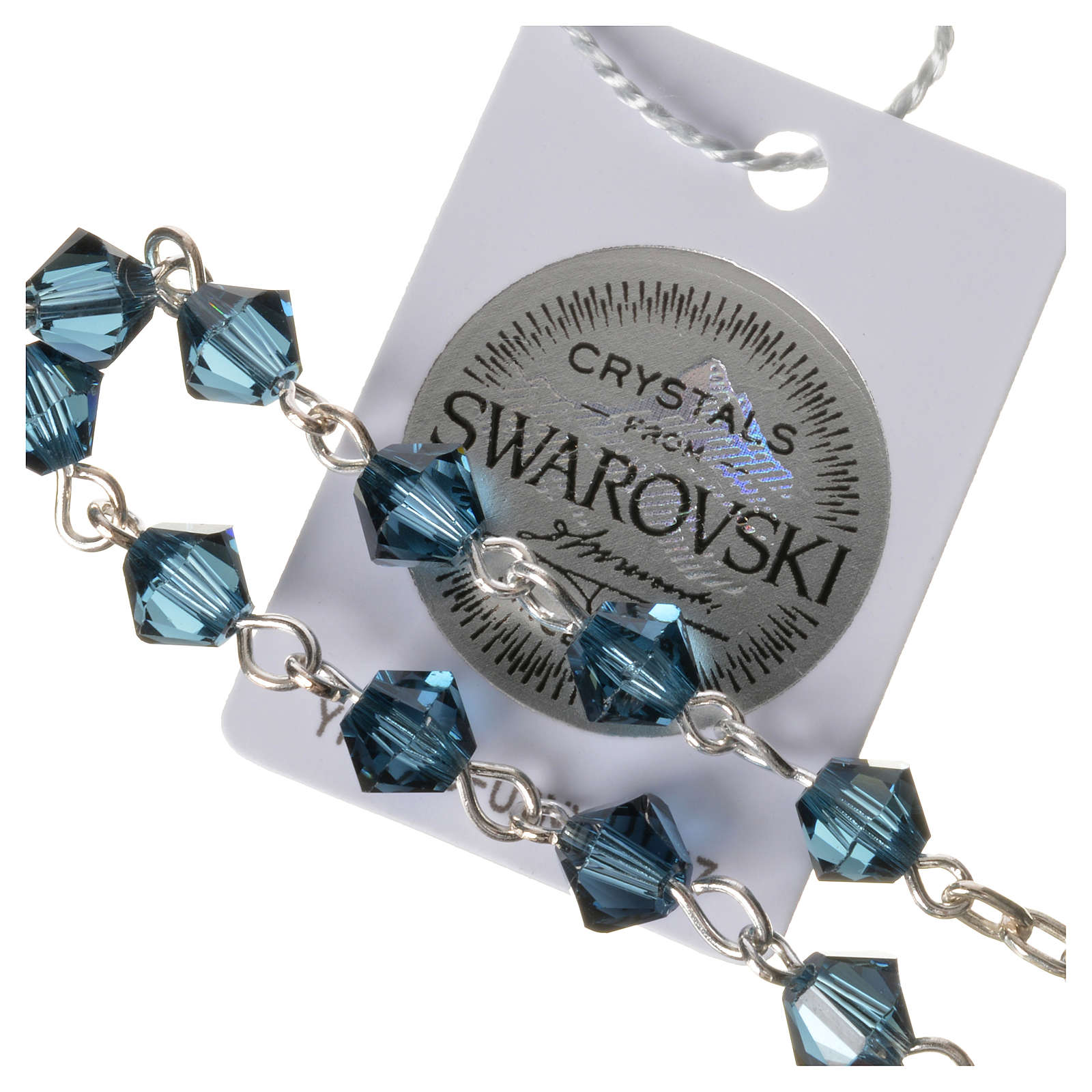 Chapelet dizainier argent 800 Swarovski bleu 4