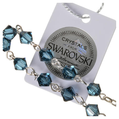 Terço dezena pata 800 Swarovski azul escuro  3