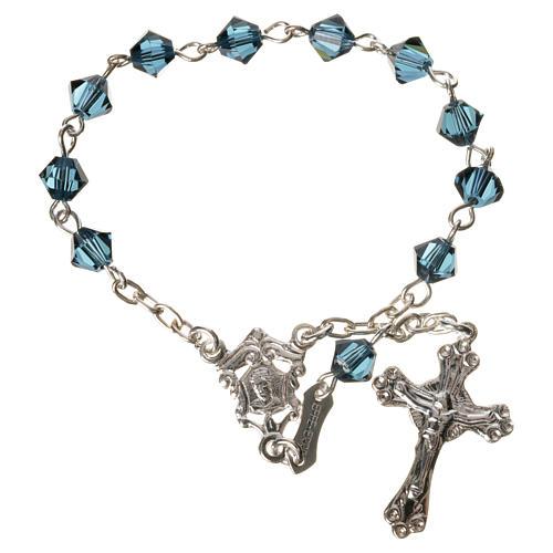 Single-decade rosary in 800 silver and blue Swarovski 1