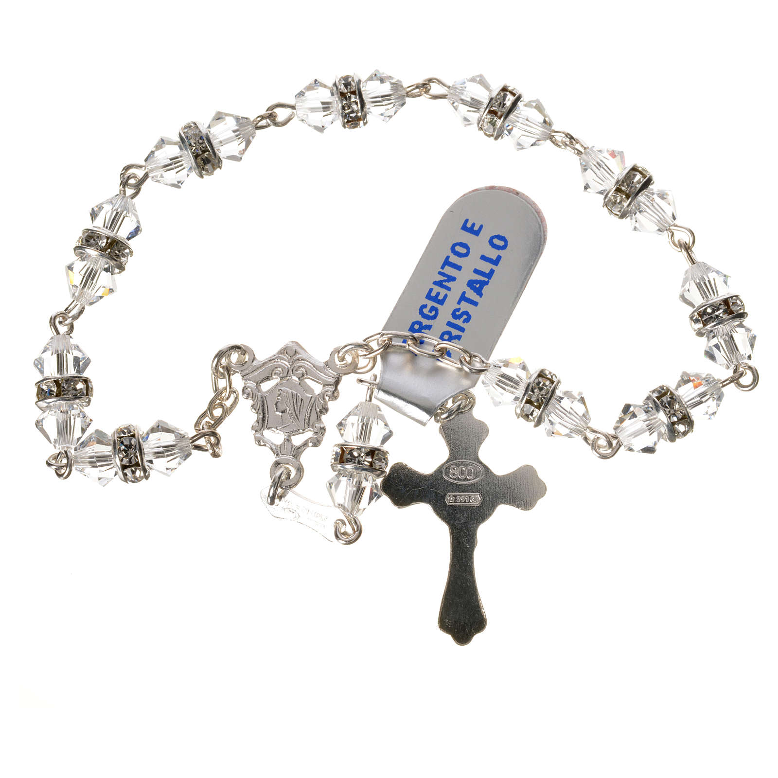 Single-decade rosary in 925 silver and transparent crystal 4