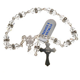 Single-decade rosary in 925 silver and transparent crystal s2