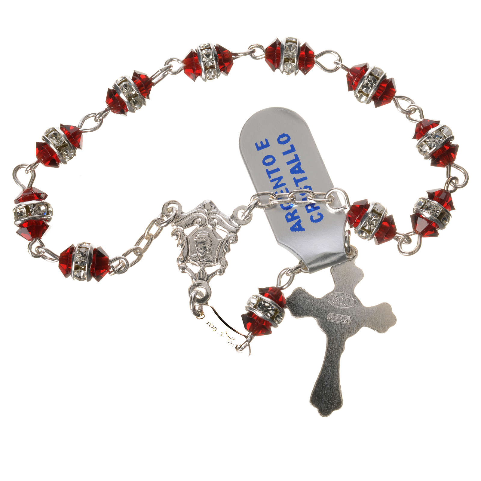 Single-decade rosary in 800 silver and red crystal 4