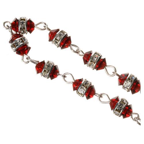 Rosario decena plata 800 cristal rojo 3