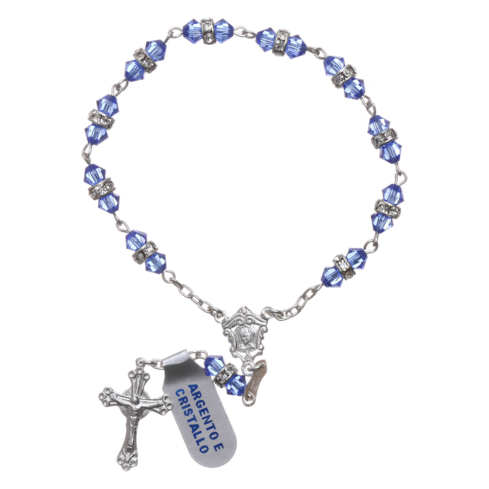 Single-decade rosary in 800 silver and light blue crystal 4