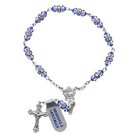 Single-decade rosary in 800 silver and light blue crystal s2