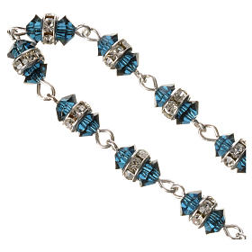 Single-decade rosary in 800 silver and blue crystal s3