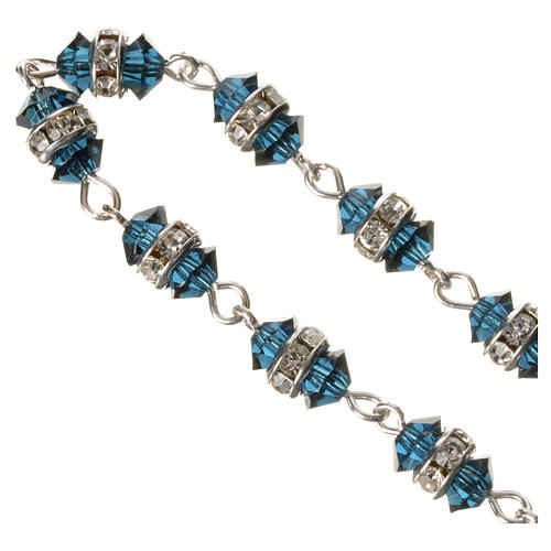 Single-decade rosary in 800 silver and blue crystal 3