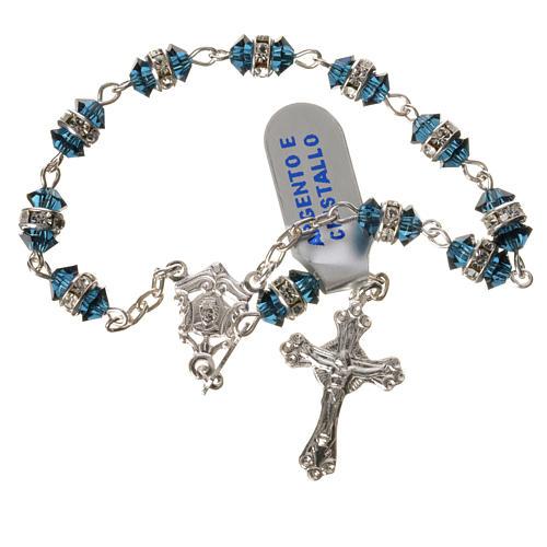 Rosario decina argento 800 cristallo blu 1