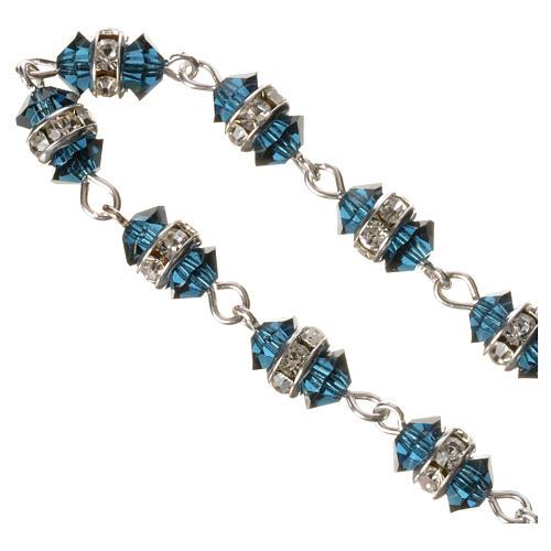Rosario decina argento 800 cristallo blu 3
