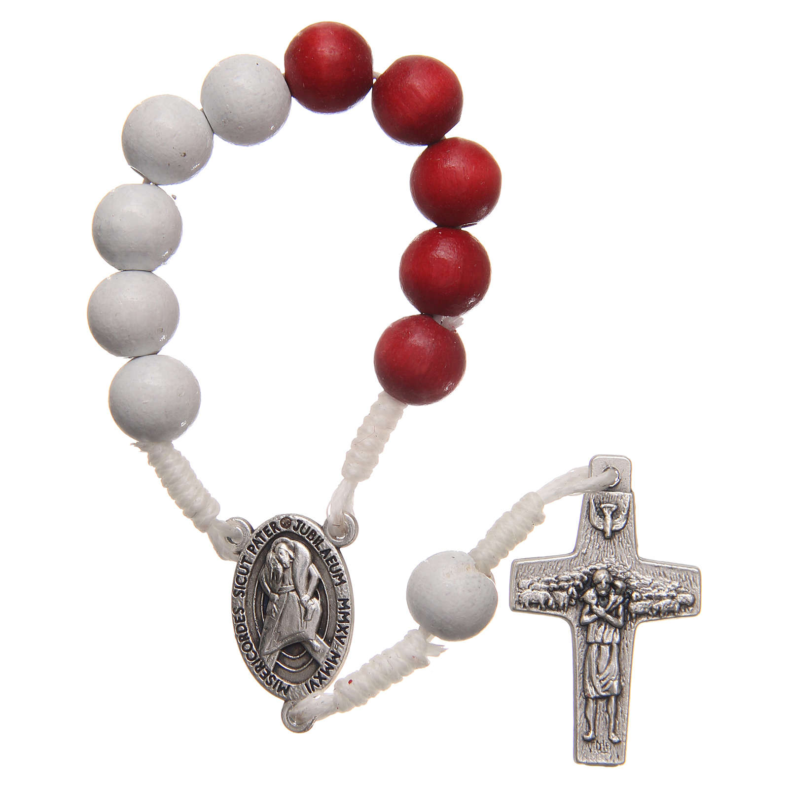 STOCK Rosary decade in red and white wood with Jubilee of Mercy symbol 4