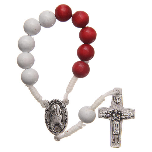 STOCK Rosary decade in red and white wood with Jubilee of Mercy symbol 1