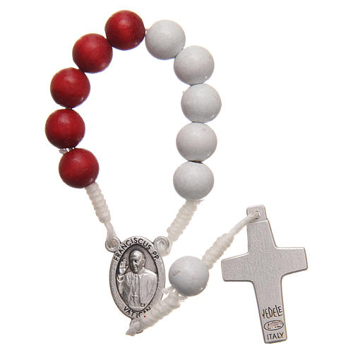 STOCK Rosary decade in red and white wood with Jubilee of Mercy symbol 2