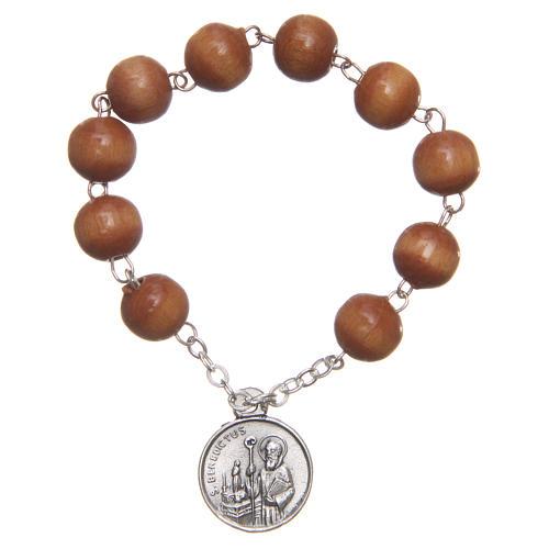 Chapelet basque bois médaille Saint Benoît 1