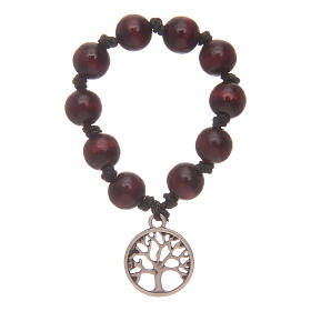 Single decade rosary with rosewood grains and tree of life s1