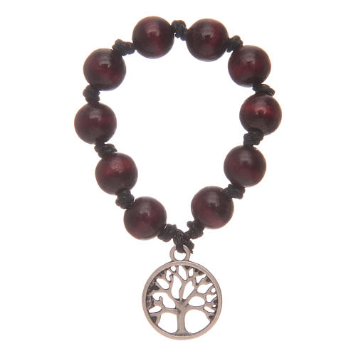 Single decade rosary with rosewood grains and tree of life 1