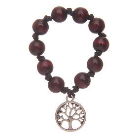 Dizainier chapelet avec grains en bois et arbre de la vie s1