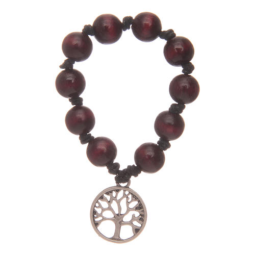 Single decade rosary with rosewood grains and tree of life 2