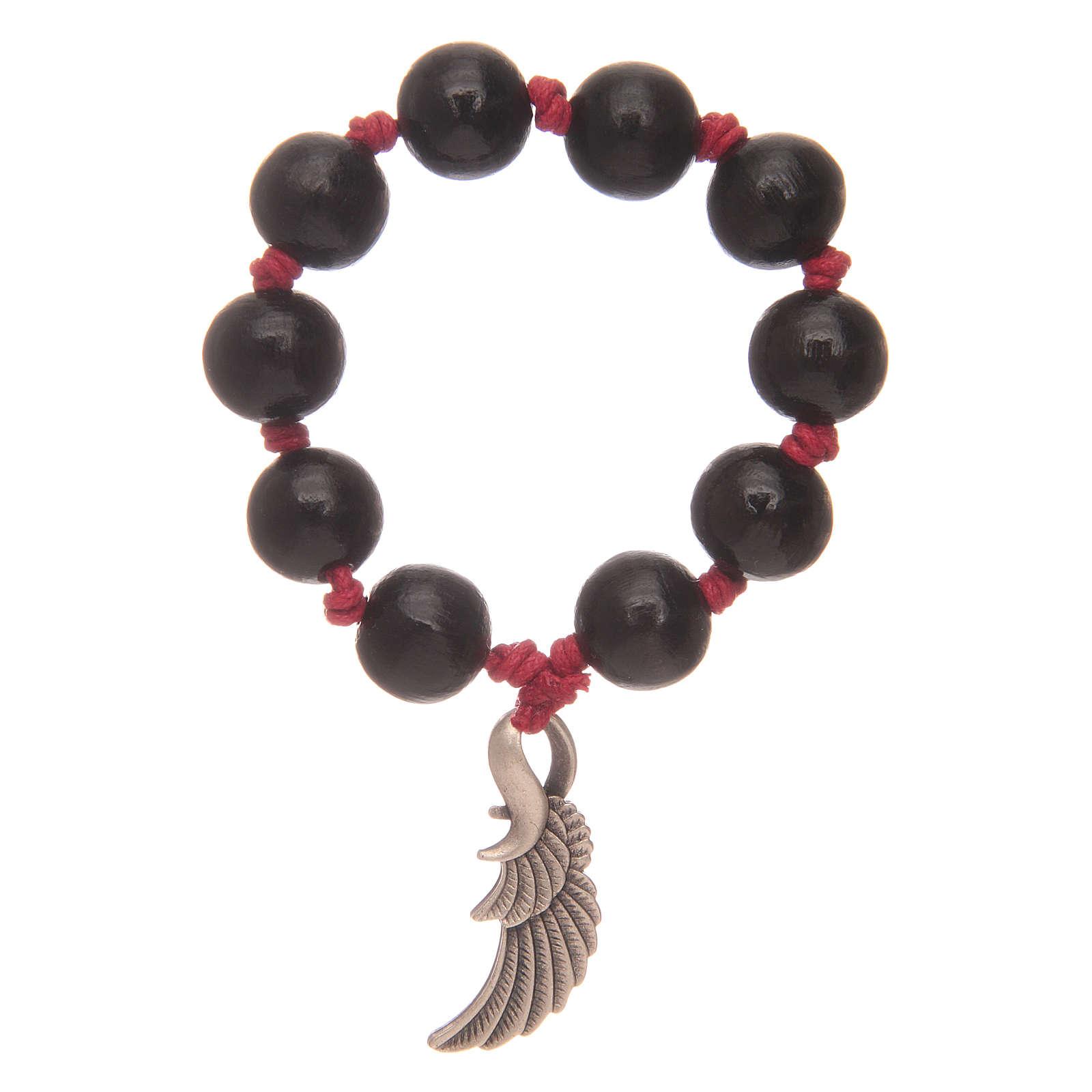 Decina rosario con grani in legno nero e ala dell'angelo 4