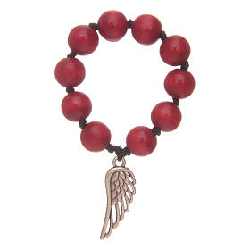 Single decade rosaries: Single decade rosary in red wood with angel's wing