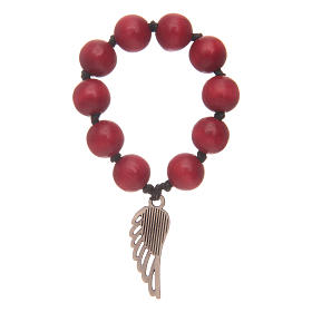 Single decade rosary in red wood with angel's wing s2