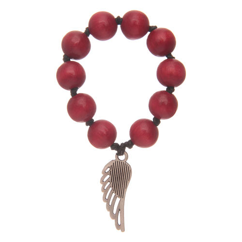 Single decade rosary in red wood with angel's wing 2