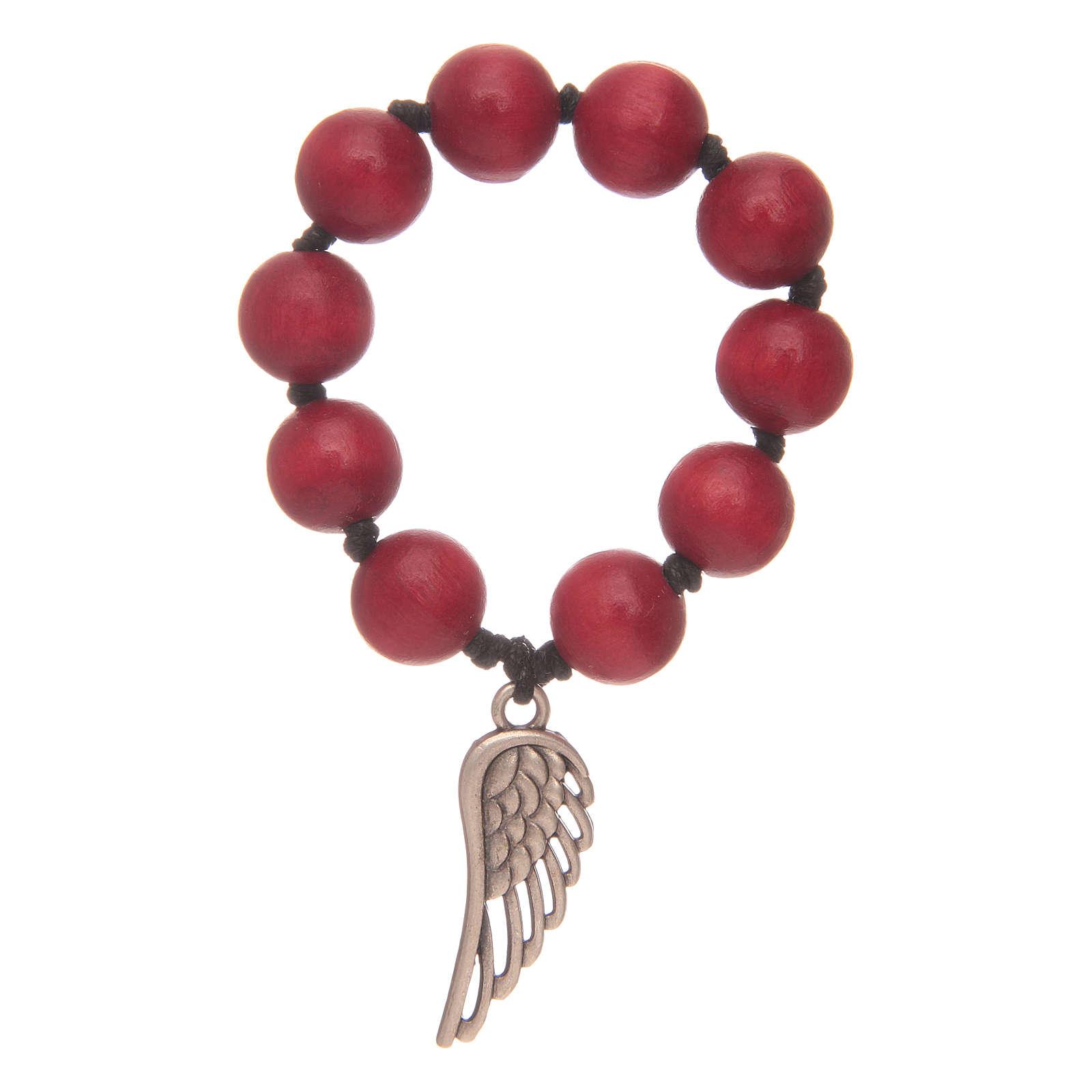 Decina rosario in legno rosso con ala d'argento 4