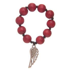 Decina rosario in legno rosso con ala d'argento s1