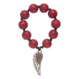 Decina rosario in legno rosso con ala d'argento s2