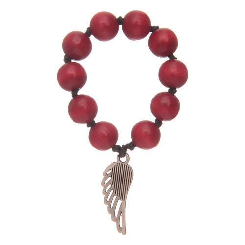 Decina rosario in legno rosso con ala d'argento 2