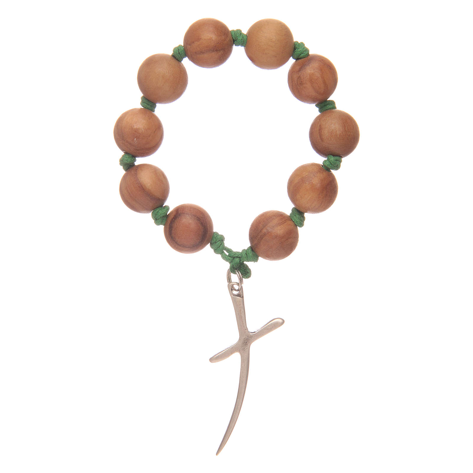 Single decade rosary in olive wood with cross 4